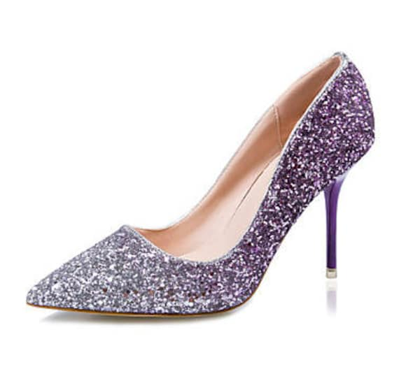 Glitter Mid Heel Ombre Stiletto Luxury sparkle Red purple