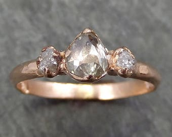 Faceted Fancy cut Champagne Diamond Engagement 14k Rose Gold Multi stone Wedding Ring Rough Diamond Ring byAngeline 0614