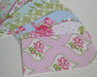 50 floral luggage gift tags name place scrapbook journal
