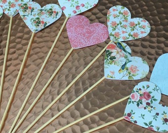 Paper heart picks sticks wedding isle decor cake toppers