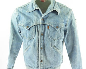 Vintage 70s Levis Denim Jacket Mens 44 Blue Cotton Denim Orange Tab USA Made [H77P_2-4]
