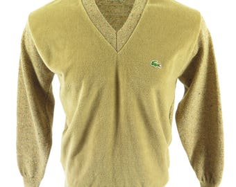 Vintage 70s Lacoste Sweater Mens XL Izod Brown Green Alligator Velour [I05J_0-13_Shelf]