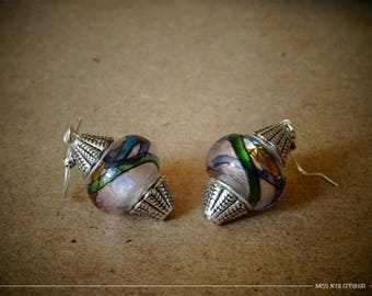 Pink & multicolored ethnic earrings & Lampwork Glass Beads