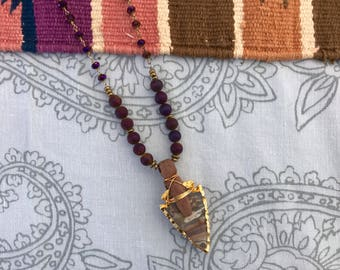 Purple Druzy and Jasper Arrowhead Necklace - Southwestern Boho Arrow Necklace - Gold Edge Arrowhead Necklace