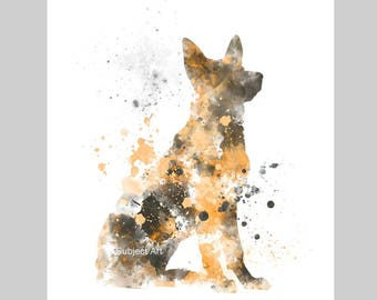 German Shepherd Dog ART PRINT Illustration, Home Decor, Wall Art, Animal, Gift
