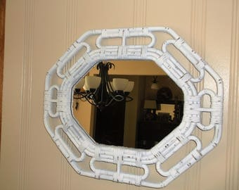 Vintage Shabby Chic Faux Bamboo Mirror