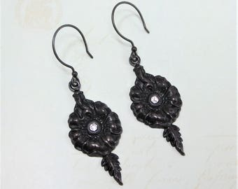 Victorian Earrings Black Earrings Flower Earrings Jewelry Gift