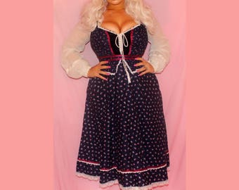 Amazing 1970s Gunne Sax by Jessica San Francisco peasant dress