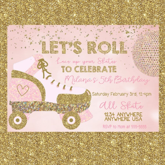 Roller Skate Invitation Skating Party Pink GoldSkate Disco ball