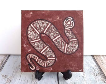 Snake Painting, Original Painting, Aboriginal Art, Acrylic paint on canvas board, earth colours, 10cm x 10cm