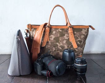 Dslr Camera Bag with Insert with shoulder strap - genuine Leather and canvas shoulder bag - tote bag - Leather with camouflage canvas