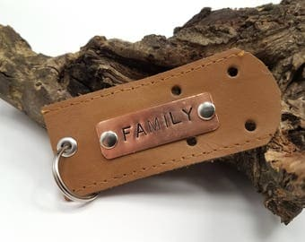 Family Keychain, Family Quote, Brown Leather Keychain, Quote Keychain, Hand Stamped Keychain, Leather Keychain, Leather Key Fob