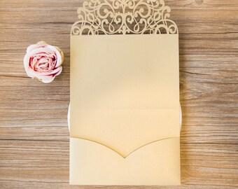 Pocket ONLY Beautiful Gold Lace  Laser Cut Wedding Invitation  - no inserts - Laser Cut Metallic Gold Shimmer Wedding Invite Pockets Jackets