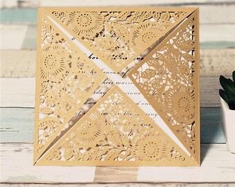 Square Laser Cut Pocket/Jacket ONLY-  DIY Laser Cut Gold Shimmer Wedding Invitation  - no inserts - Gold Black Navy Cream Shimmer Pocket