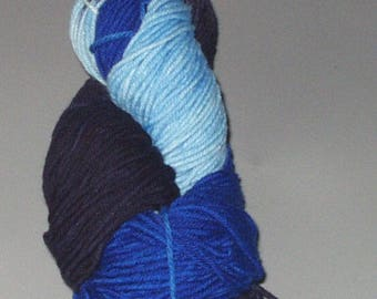Merino Wool Yarn Worsted Weight  Superwash Wool  Hand Dyed  Multi Colored Variegated Blue Light Blue Navy Blue