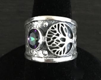 925 silver, mystic topaz, tree of life ring