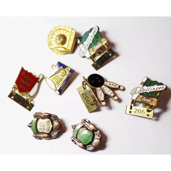 Hipster Chic Collection of 8 Super Cool Little Vintage Enamel Bowling Club Pins