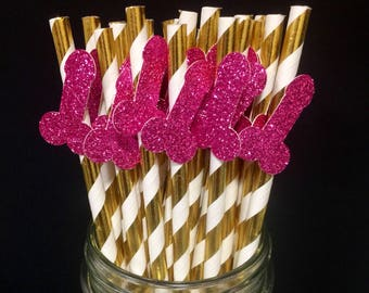 12 Bachelorette Party Penis Straws or 24 Penis Confetti - Any Color!