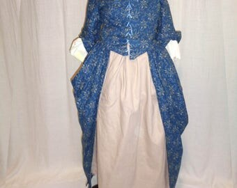 18th Century Girl's Indigo Blue Dress