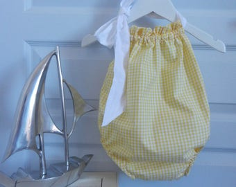 Yellow gingham and White Ribbon - 2 years baby swimsuit