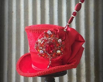 ON SALE Mini Top Hat, Kentucky Derby Hat, Red Mini Top Hat, Alice in Wonderland Mini Top Hat, Mad Hatter Hat, Bridal hat, Red hat society ha