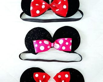 Minnie Mouse Ears Clips or Headband
