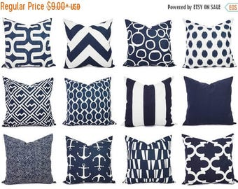 15% OFF SALE One Navy and White Pillow Covers - 16 x 16 Inch Navy Blue Throw Pillow Cover - Decorative Pillow Cushion Cover Navy Blue Pillow