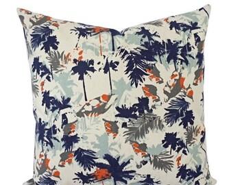 15% OFF SALE Orange Blue Pillow Cover - Orange Pillow Cover - Palm Tree Decorative Pillow - Orange Throw Pillow - Navy Throw Pillow - Lumbar