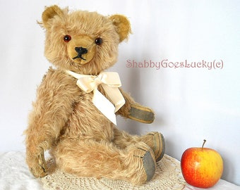 German vintage teddy bear, 1950s made by Clemens, 17 inch tall long hair mohair bear with glass eyes, restored shabby old teddy