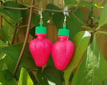90s Strawberry Earrings Fruit Candy vintage inspired mod 60s