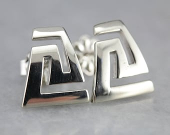 Graphic Geometry White Gold Stud Earrings 09H1XH-D