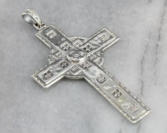 Large Sterling Silver Cross, Statement Pendant, Religious Jewelry 9T5AVF8C-R