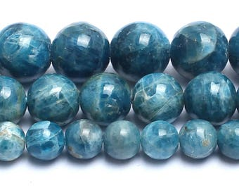 Blue Apatite Beads, Natural Apatite Gemstone Beads, Smooth Round Stone Beads For Jewelry Making, 6mm 8mm 10mm 15''