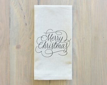 Merry Christmas Script Napkin_Christmas, table setting, tableware, place setting, housewarming gift, party, dinner, event
