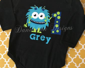 Boys Birthday Shirt First Birthday Monster Birthday Bodysuit T-Shirt First 1st Second 2nd B-Day  (Other Characters Available on request)