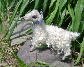 Needle Felted Sheep, Felted Farm Animal, Teeswater Sheep, Long Teeswater Locks Sheep, Farm Sheep Sculpture, Teeswater Locks Lamb