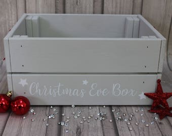 Handpainted Personalised Wooden Christmas Eve Family Treat Crate Box Hamper Grey