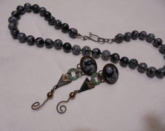 Sterling Silver  Snow Flake Obsidian  Beaded Vintage Necklace / Earrings