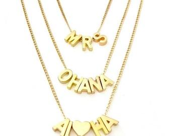SUMMER SALE Aloha, Ohana or MRS necklace
