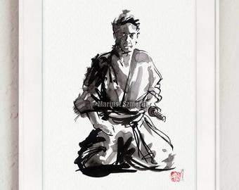 Samurai, Budo, Zen, Japanese Warrior, Bushido, Samurai poster, Watercolor painting, Warrior, Artwork, Modern art, Surreal
