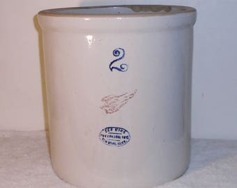 RED WING Pottery 2 Gallon Glaze Stoneware Crock 9 3/4x9 1/2inch