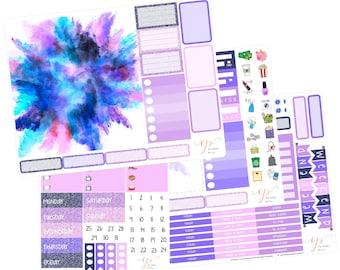Big Happy Planner Weekly Kit / Purple Watercolor / Planner Stickers / Big Happy Planner Stickers / BHP43