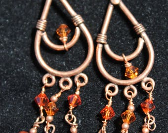 Copper Chandelier Earrings With Pearls and Crystals