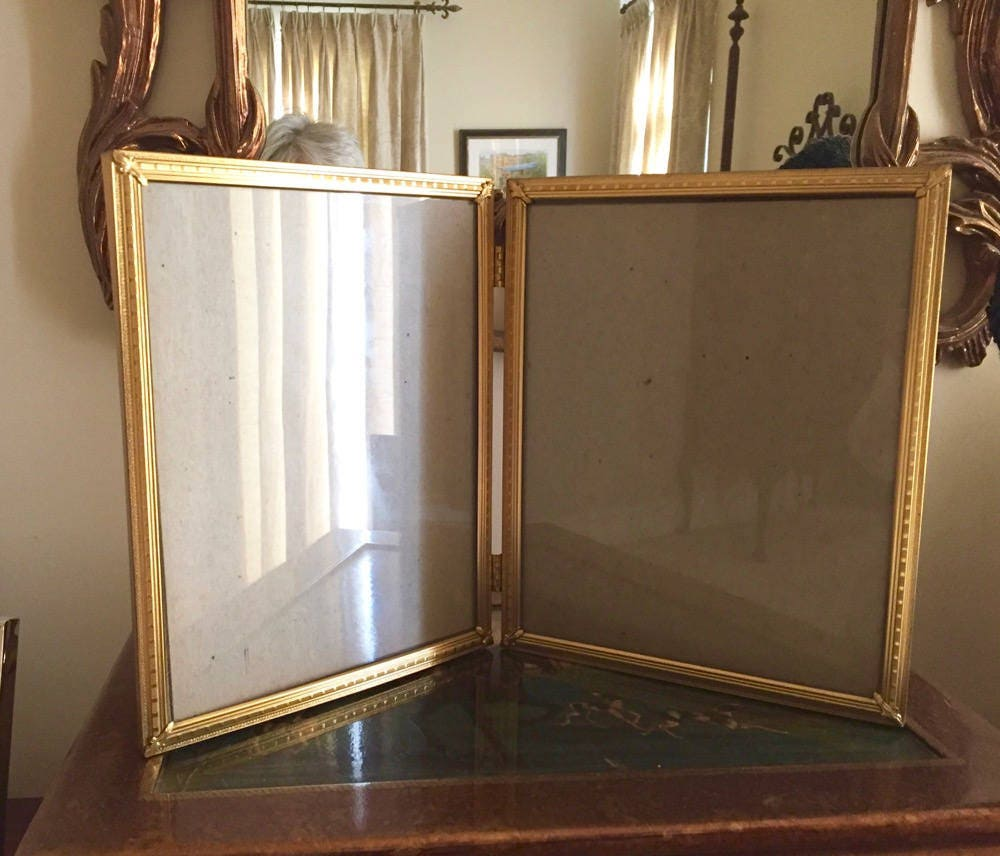 Brass double hinged photo frame 8 x 10 inch picture frame brass double hinged photo frame 8 x 10 inch picture frame decorative corners detailed brass velveteen flocked back mid century frame jeuxipadfo Gallery