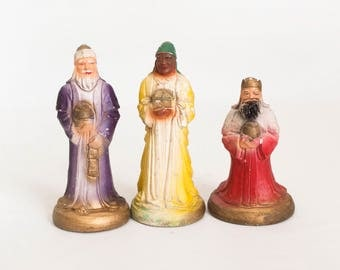 1950s Vintage Chalkware Nativity 7 Piece Set With Stable