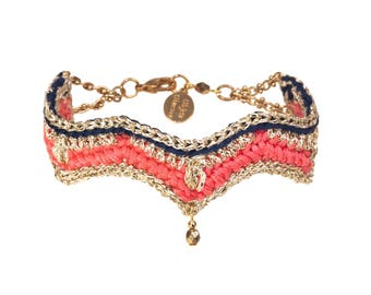 Navy stripe Crochet Hippie Chic TAMARA coral and blue bracelet