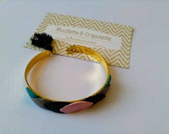 """Bangle gold metal and leather leaves """"Rosie"""""""
