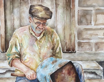 Original figurative watercolor painting-old man painting-watercolor art