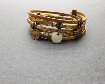 """Bracelet liberty and suede """"bohemian"""" sequins brass and enamel"""