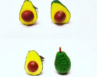 Avocado studs - avocado polymer clay earrings - Avocado with pips - polymer clay studs  - whole avocado - vegan earrings - vegan studs